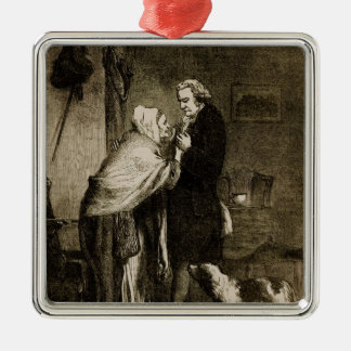 George Washington and his Mother Silver-Colored Square Decoration
