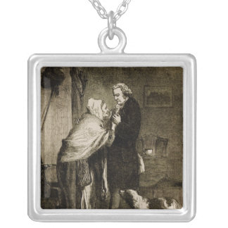 George Washington and his Mother Silver Plated Necklace
