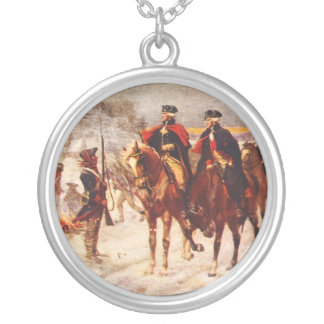 George Washington and Lafayette at Valley Forge Silver Plated Necklace