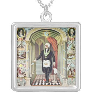 George Washington as a Freemason Silver Plated Necklace