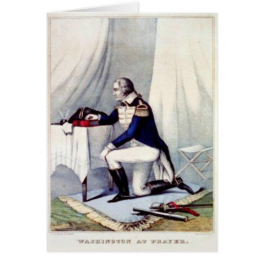 George Washington at Prayer Presidents Day Custom Cards