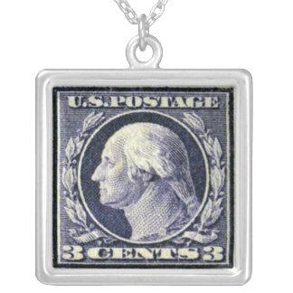 George Washington Blue Postage Stamp Necklace