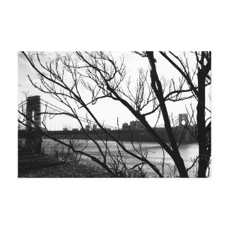 George Washington Bridge Black & White Photo Gallery Wrap Canvas