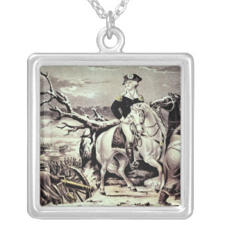 George Washington crossing the Delaware Silver Plated Necklace