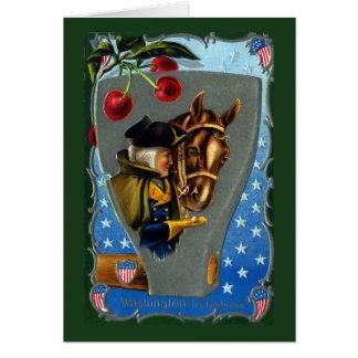 George Washington Feeding Horse Sugar Cube Greeting Card