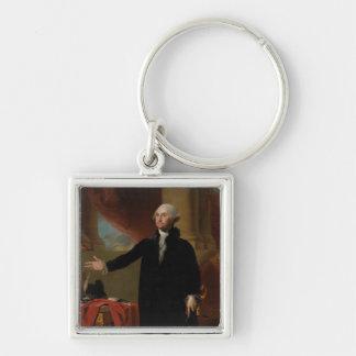 George Washington - Gilbert Stuart (1797) Silver-Colored Square Key Ring