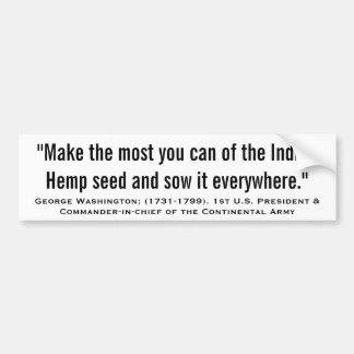 "GEORGE WASHINGTON ""Indian Hemp Seed"" Bumper Sticker"