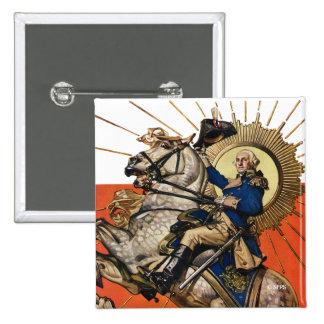 George Washington on Horseback 15 Cm Square Badge
