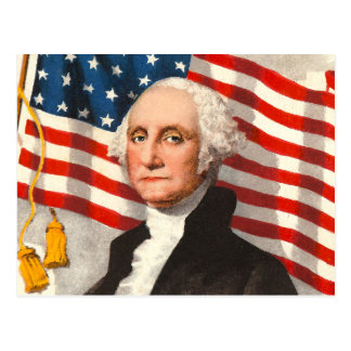 George Washington Patriotic U S Flag July 4th Postcard