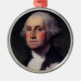 George Washington Portrait 1 Silver-Colored Round Decoration
