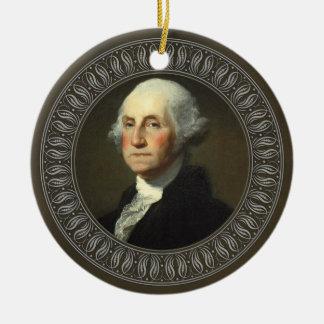 George Washington Portrait Double-Sided Ceramic Round Christmas Ornament