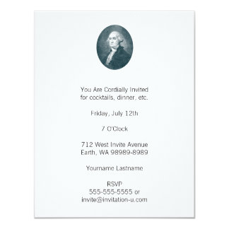 George Washington Portrait Oval 11 Cm X 14 Cm Invitation Card
