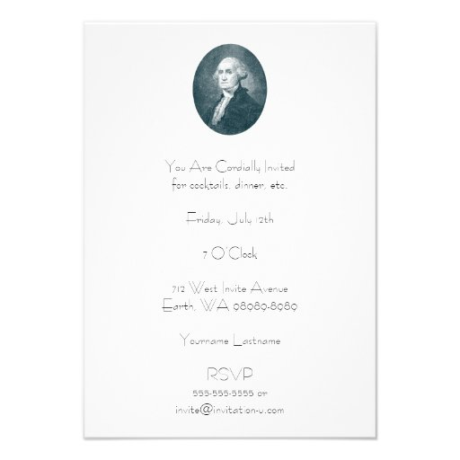 George Washington Portrait Oval Personalized Invitations
