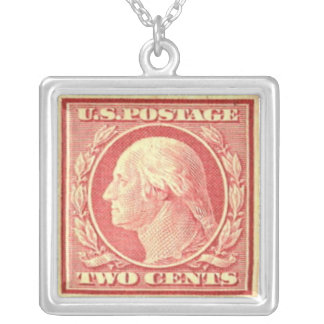George Washington Red Postage Stamp Necklace