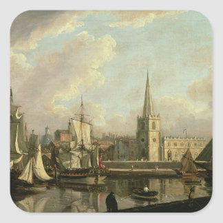George's Dock Basin, Liverpool, 1797 (oil on canva Square Sticker