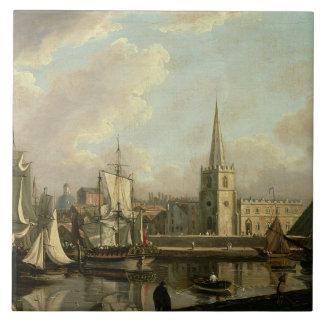 George's Dock Basin, Liverpool, 1797 (oil on canva Tile