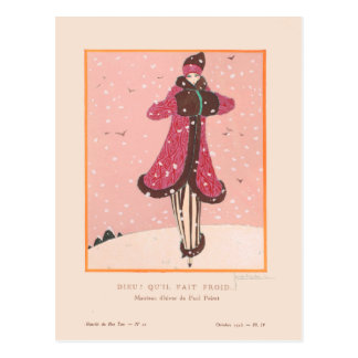 Georges Lepape Vintage Art Deco Fashion It's Cold Postcard
