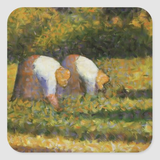 Georges Seurat- Farm Women at Work Square Stickers