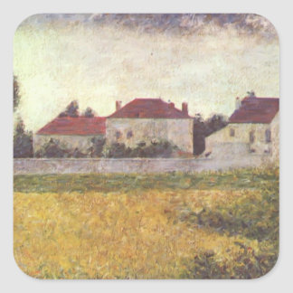 Georges Seurat- White Houses Ville d Avray Square Stickers