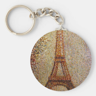 Georges Seurat's Painting: The Eiffel Tower (1889) Basic Round Button Key Ring