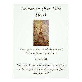Georges Seurat's Painting: The Eiffel Tower (1889) 5.5x7.5 Paper Invitation Card