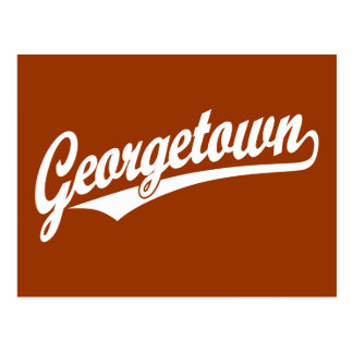 Georgetown script logo in white postcards