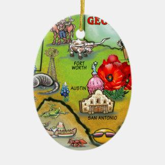 Georgetown Texas Cartoon Map Ceramic Oval Decoration