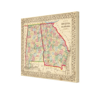 Georgia, Alabama Map by Mitchell Canvas Print