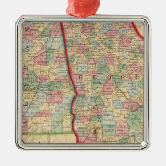 Georgia, Alabama Map by Mitchell Christmas Ornament