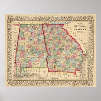 Georgia, Alabama Map by Mitchell Poster