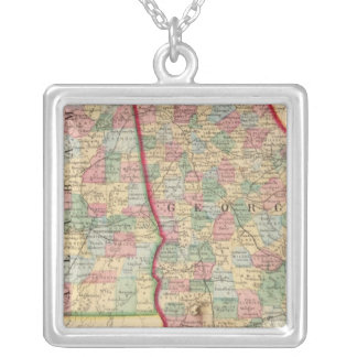 Georgia, Alabama Map by Mitchell Silver Plated Necklace