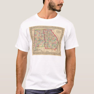 Georgia, Alabama Map by Mitchell T-Shirt