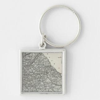 Georgia Atlas Map Silver-Colored Square Key Ring
