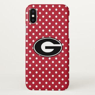 Georgia Bulldogs Logo | Polka Dot Pattern iPhone X Case