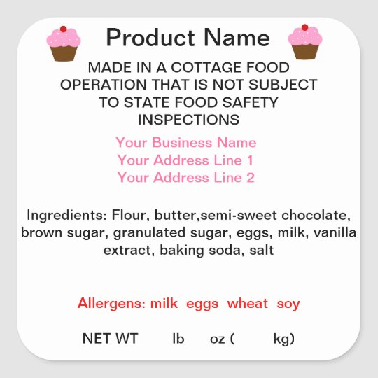 GEORGIA Cottage Food Law Product Labels Square Sticker