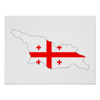 georgia country flag map shape symbol poster