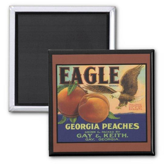 Georgia Eagle Peaches Square Magnet