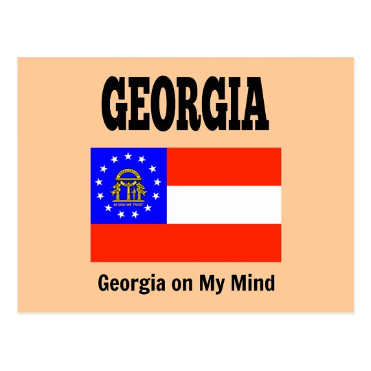 Georgia flag and slogan postcard