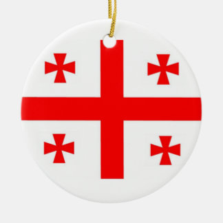 Georgia Flag Double-Sided Ceramic Round Christmas Ornament