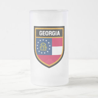Georgia Flag Frosted Glass Beer Mug