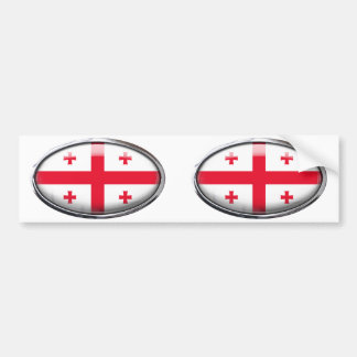Georgia Flag in Glass Oval Bumper Sticker