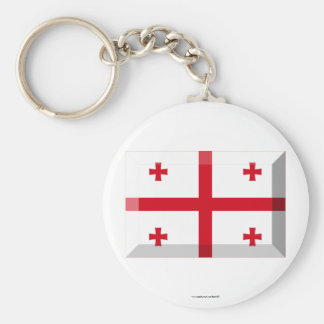 Georgia Flag Jewel Basic Round Button Key Ring