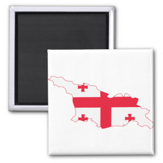 Georgia Flag Map GE Square Magnet