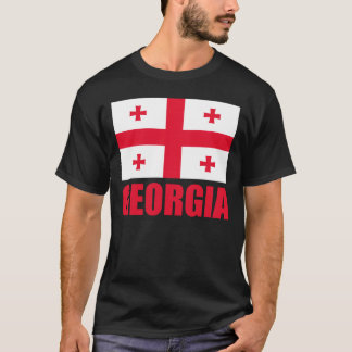 Georgia Flag Red Text T-Shirt