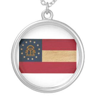 Georgia Flag Round Pendant Necklace
