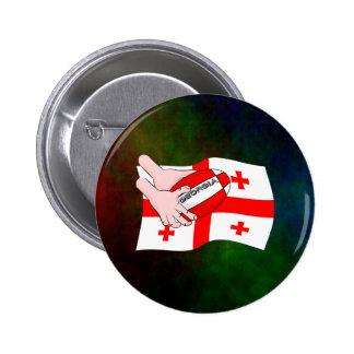 Georgia Flag Rugby Ball Pass Cartoon Hands 6 Cm Round Badge