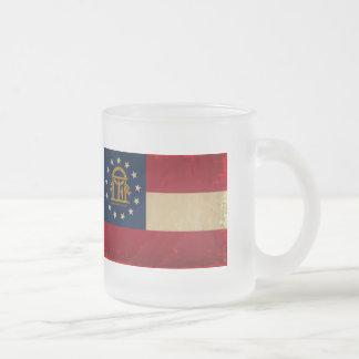 Georgia Flag VINTAGE.png 10 Oz Frosted Glass Coffee Mug