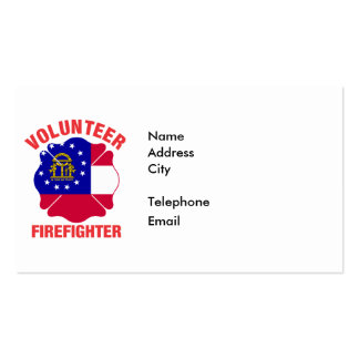 Georgia Flag Volunteer Firefighter Cross Double-Sided Standard Business Cards (Pack Of 100)