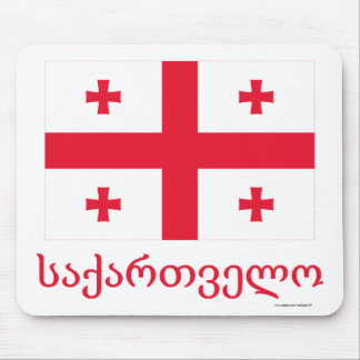 Georgia Flag with Name in Georgian Mouse Mat
