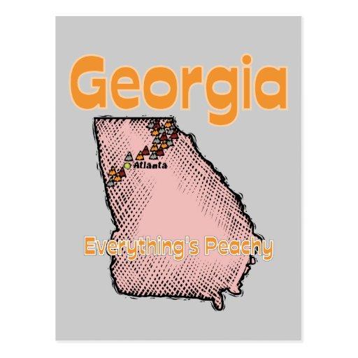 Georgia GA US Motto ~ Everything's Peachy Post Cards